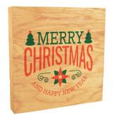 """Poinsettia """"Merry Christmas and a Happy New Year"""" Rustic Box Art"""