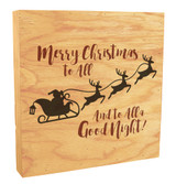 """""""Merry Christmas to All"""" with Flying Sleigh Rustic Box Art"""
