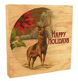 """Vintage Reindeer """"Happy Holiday"""" Rustic Box Art"""