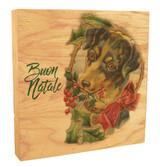 "Vintage Dog ""Buon Natale"" Rustic Box Art"