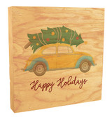 Happy Holidays with Yellow Car Rustic Box Art
