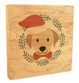 Cute Dog with Santa Hat Rustic Box Art