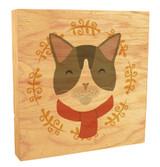 Cute Cat with Scarf Rustic Box Art