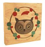 Cute Owl with Santa Hat Rustic Box Art