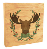 Cute Moose with Scarf Rustic Box Art