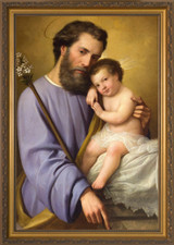 St. Joseph and the Infant Jesus - Gold Framed Canvas