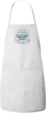 """Our Lord is Moving"" St. Teresa of Avila Quote Apron (White)"