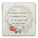 """Worker in the Vineyard"" Tumbled Stone Coaster"