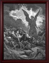 Archangel Gabriel Smiting the Camp of Sennacherib and the Assyrians by Gustave Dore - Cherry Framed Art
