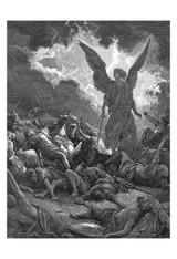 Archangel Gabriel Smiting the Camp of Sennacherib and the Assyrians by Gustave Dore Print