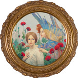 The Message by Thomas Cooper Gotch - Round Framed Canvas