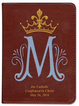 Personalized Catholic Bible with Marian Symbol- Burgundy RSVCE