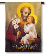Saint Joseph (Pray for Us) Outdoor House Flag