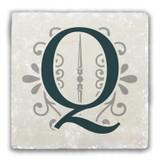 """Q"" Alphabet 2 Tumbled Stone Coaster"