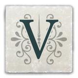 """""""V"""" Alphabet 2 Tumbled Stone Coaster"""