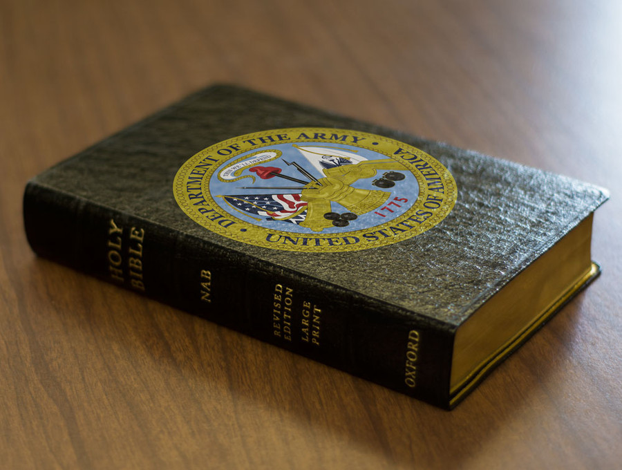 Personalized Catholic Bible with Army Cover - Black Genuine Leather NABRE