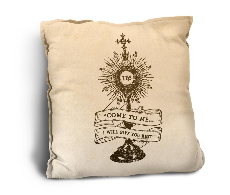 Monstrance Rustic Pillow