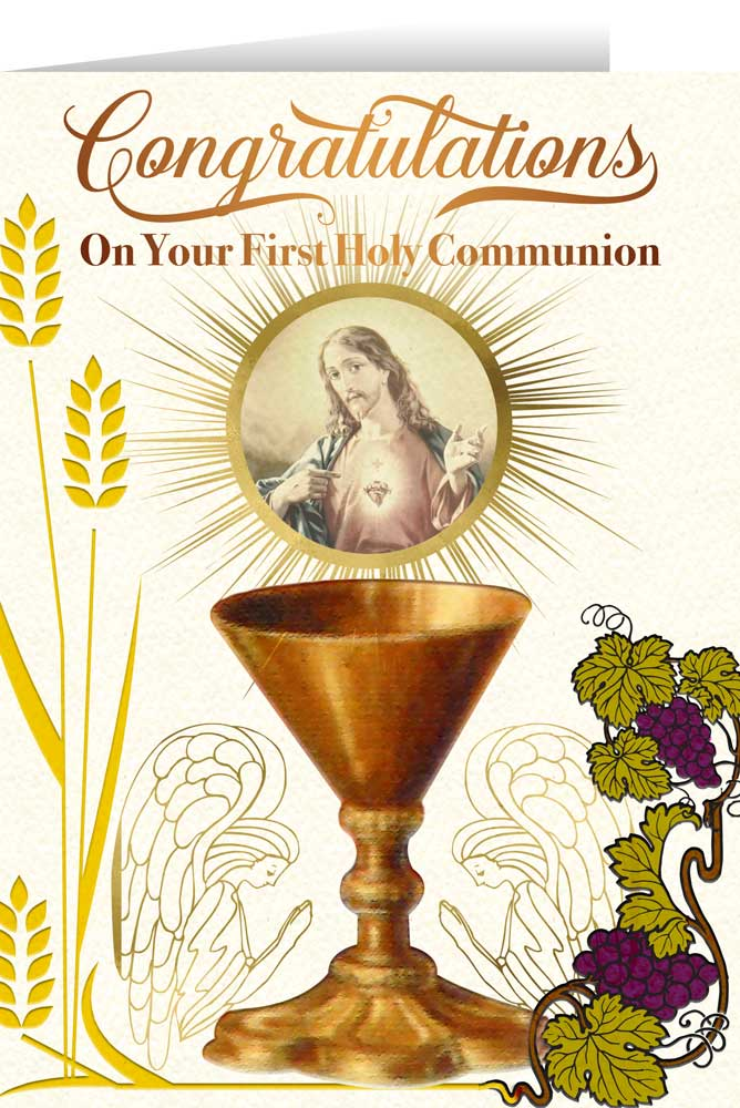 Sacred Heart Chalice First Communion Greeting Card