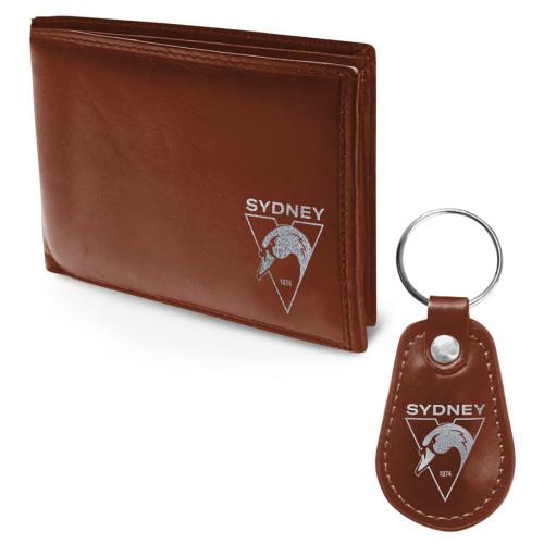 Sydney Swans PU Leather Wallet & Keyring Set