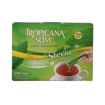 Tropicana Slim Calorie free Sweetener With Stevia 100 Sticks 150g