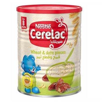 Nestl?? Cerelac From 8 Months, Wheat and Date Pieces with Milk Infant Cereal Tin 400g