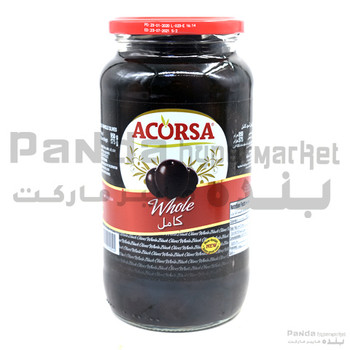 Acorsa Olives Black Plain Jar 575gm