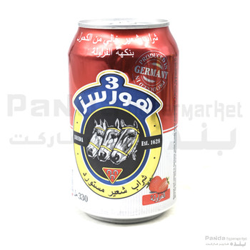 3Horses Flavour Can Strwbry 330ml