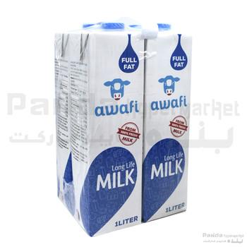 Awafi Milk Full Fat 1Ltr X 4Pcs