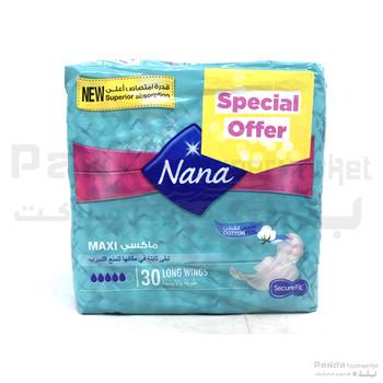 Nana Maxi Long Wings 30Pcs  Pads