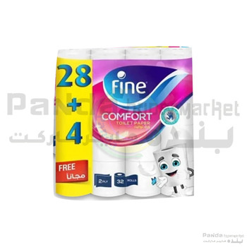 Fine Toilet Roll2Ply.180Shts Soft 28+4Free