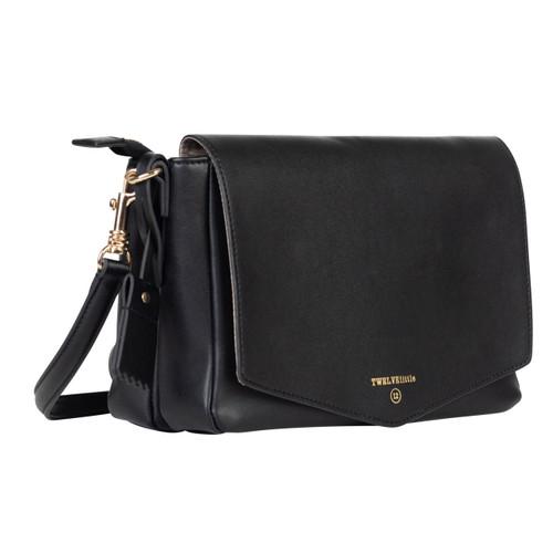 Peek-A-Boo Crossbody Diaper Bag in Black
