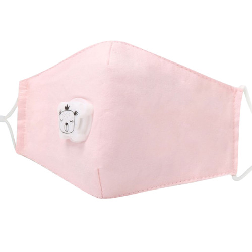 Kids Pastel Pink Reusable Face Mask with PM 2.5 Carbon Filter *Pocket* and Breathing Valve