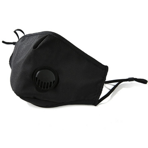Adults Black Reusable Face Mask with PM 2.5 Carbon Filter *Pocket* and Breathing Valve