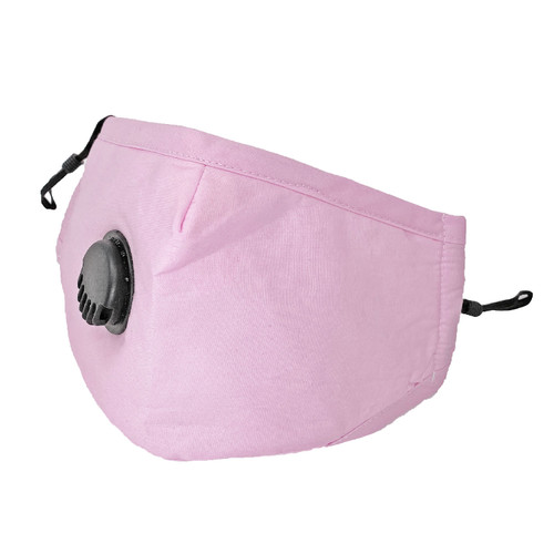 Adult Pink Pastel Reusable Face Mask with PM 2.5 Carbon Filter *Pocket* and Breathing Valve
