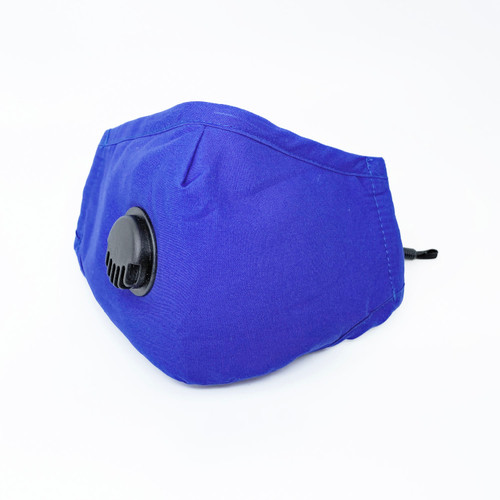 Adult Electric Blue Reusable Face Mask with PM 2.5 Carbon Filter *Pocket* and Breathing Valve