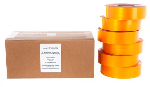 "Amber Cellophane Laminate for Strip Packaging, 2"" x 1800'"