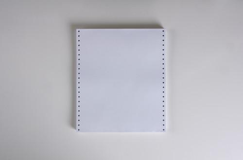 "Stock 9.5"" x 11"" Blank 1-Ply Computer Paper, 20# bond"