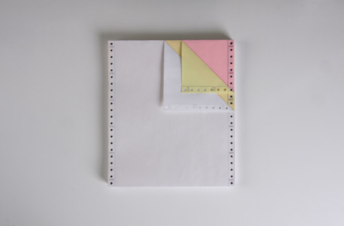 """Stock 9.5"""" x 11"""", 3-Ply Carbonless Computer Paper, White/Canary/Pink"""