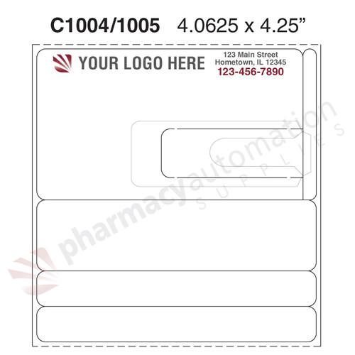 "Custom 4.0625"" x 4.25"" Direct Thermal Prescription Label - Form C1004/1005"