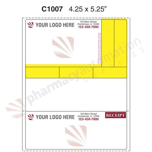 "Custom 4.25"" x 5.25"" Direct Thermal Prescription Label - Form C1007-V4"