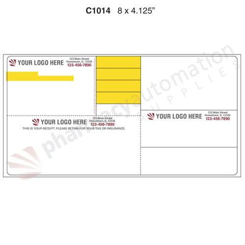 "Custom 4.125"" x 8"" Direct Thermal Prescription Label - Form C1014"