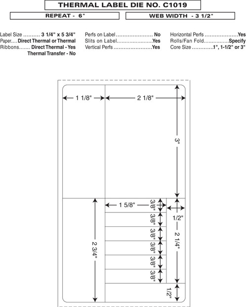 "Custom 3.5"" x 6"" Direct Thermal Prescription Label - Form C1019"