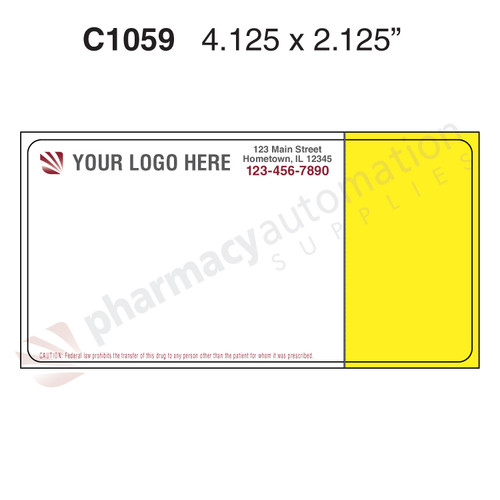 "Custom 2.125"" x 4.125"" Direct Thermal Prescription Label - Form 1059 with Kit"