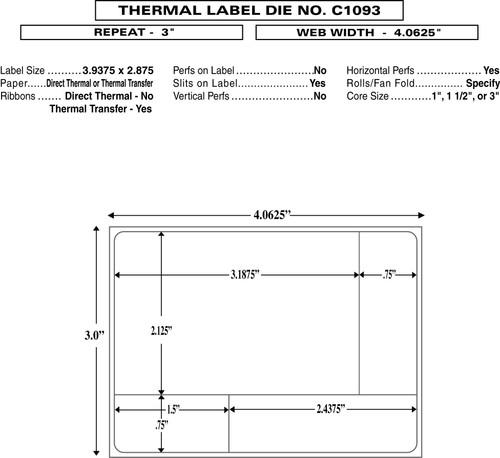 "Custom  4.0625""x 3"" Direct Thermal Rx Label - Form C1093"