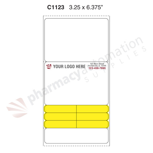 "Custom 3.25"" x 6.375"" Direct Thermal Prescription Label - Form C1123"