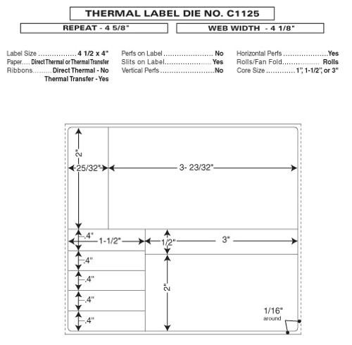 "Custom 4.125"" x 4.625"" Direct Thermal Prescription Label - Form C1125"