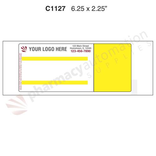 "Custom 2.25"" x 6.25"" Direct Thermal Prescription Label - Form C1127"