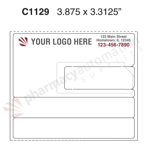 "Custom 3.3125"" x 3.875"" Direct Thermal Prescription Label - Form C1129"