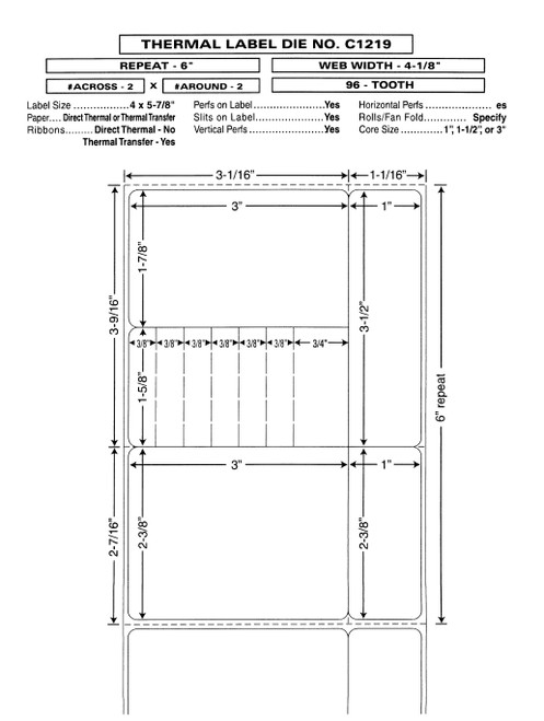 "Custom 4.125"" x 6"" Direct Thermal Prescription Label - Form C1219"