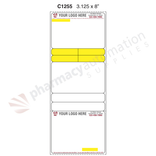 "Custom 3.125"" x 8"" Direct Thermal Prescription Label - Form C1255"